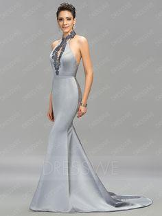 Classic Halter Mermaid Embroidery Backless Long Evening Dress 11275276 - Designer Dresses - Dresswe.Com