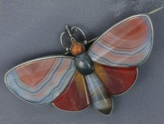 Rare Antique X-Large Scottish Agate Butterfly Pin