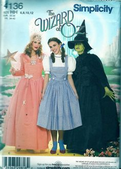 Dorothy Costume, Glenda, Evil Witch Wizard of Oz Costume Sewing Pattern - Sizes 6 8 10 12 - Bust 30 to 34 - Simplicity 4136 UNCUT Halloween The Wizard Of Oz Costumes, Wicked Witch Costume, 3 People Halloween Costumes, Adult Costumes, Halloween Ideas, Halloween History, Fantasy Costumes, Halloween 2016, Adult Halloween