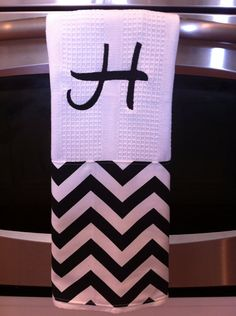Hostess gift Monogram dish towel Chevron dish towel Wedding gift on Etsy, $13.00