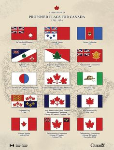 This picture represents a small collection of some of the flag nominees, some of which were actually used in Canada for a while before we got the official flag in the bottom right corner! Canadian Things, I Am Canadian, Canadian Flags, Canadian Culture, Canadian History, Canadian Humour, Canadian Identity, Canada 150, Quebec