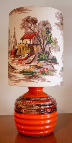 See more on my blog http://cdiannezweig.blogspot.com/ and my site http://iantiqueonline.ning.com  Lamp with vintage barkcloth shade #VintageLamp