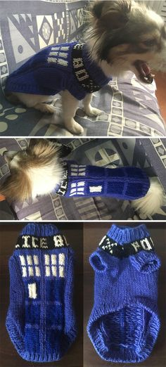 Free Knitting Pattern for TARDIS Dog Sweater - These Doctor Who inspired dog costume is designed for small dogs but comes with instructions for adapting to other sizes. Designed by Cináed Langley Knitted Dog Sweater Pattern, Knit Dog Sweater, Dog Pattern, Crochet Pattern, Free Pattern, Small Dog Coats, Small Dog Sweaters, Cat Sweaters, Small Dogs