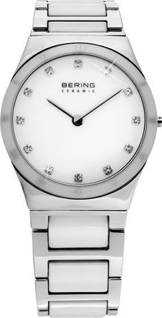 Bering Time Ladies White Ceramic Link Watch Swarovski Crystals 32230-764 Women'S