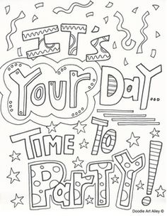 free birthday coloring pages at celebration doodles from doodle art alley make someones day with a fun coloring birthday card