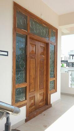 New wooden glass door design woods Ideas Front Door Design Wood, Home Door Design, Double Door Design, Door Gate Design, Door Design Interior, Wooden Door Design, Interior Exterior, Exterior Doors, Entrance Design