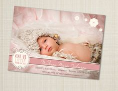 modern baby girl birth announcement custom photo card photo baby