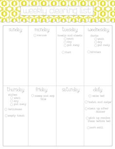 Weekly cleaning list - printable  cute & manageable, not a 100 things a day or overly detailed... perfect!