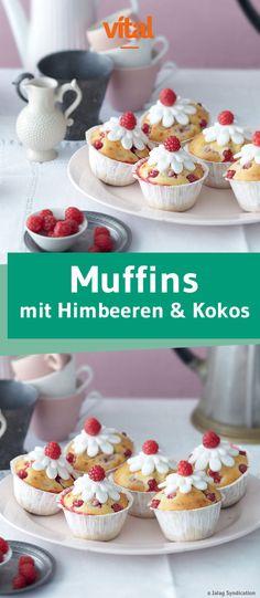 Rezept für Muffins mit Himbeeren und Kokos! Schmeckt auch lecker zu Ostern!