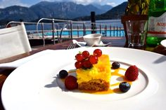 Delicious cheesecake with berries at Grand Hotel Tremezzo in Lake Como, Italy
