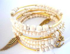 White gold charm bracelet Ivory braclet Natural calming bracelet Gift for women teacher Romantic gifts for her Unique presents for friends
