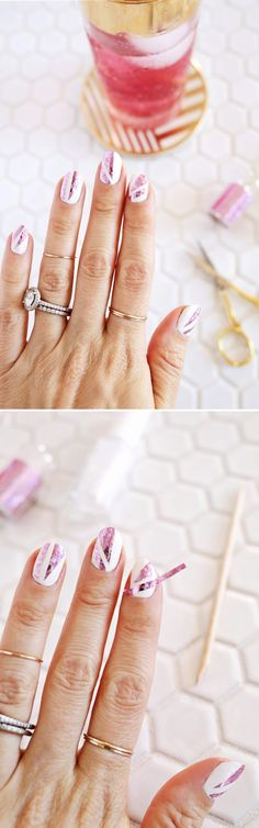 Super Easy Nail Art Ideas for Beginners - DIY Holograph Foil Manicure - BEGINNERS Very Easy Nail Designs Tutorial - Simple Step By Step DIY Tutorials And Pictures For Nailart. Ideas For Every Style, All Hair Colors, Sparkle, Valentines, And other Awesome Products To Make It DIY and Super Easy - https://thegoddess.com/nail-art-ideas-beginners