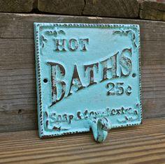 Wall Hook/ Bright Yellow/ Bath Towel Rack/ Robe Hook/ Shabby chic/ Bathroom Fixture /Beach Cottage /. $19.99, via Etsy.