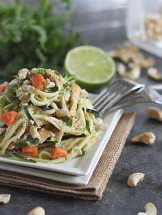 Thai Chicken Zucchini Noodles   runningtothekitchen.com by Runningtothekitchen, via Flickr