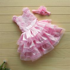 cea9c601c154a Baby Girl Pink Cute Dresses Baby Cake Flower Princess Dresses Headband New  Arrival Kids For Girls