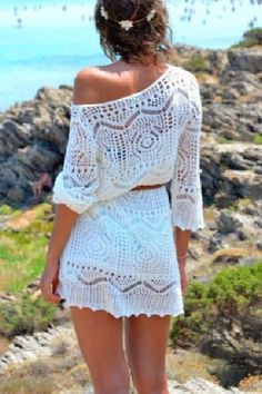 White beach dress. I would wear this :) Especially with my brown biscuit tan I get lol
