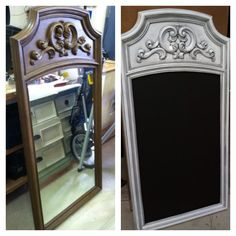 Old dresser mirror turned into a chalkboard. Spray painted white with black glaze Old dresser mirror Repurposed Furniture, Rustic Furniture, Painted Furniture, Diy Furniture, Repurposed Items, Furniture Dolly, Refurbished Dressers, Old Dressers, Furniture Projects