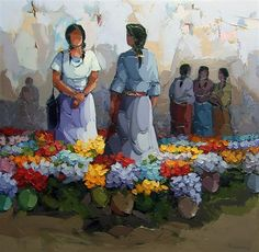 Saim Dursun - Pazarlik - oil on canvas