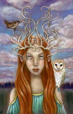 The Guardians Barn Owl wren fairy forest pagan goddess 8x10 fine art print on Etsy, $16.00