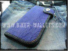 """Blue Shark"" 8"" Custom Handmade Men's Biker Wallet"