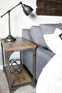 Industrial Side Table for Modern Farmhouse Industrial Decor #vintageindustrialfurniture