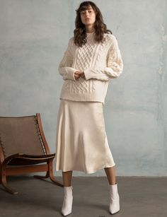 Love this outfit idea with silk slip skirt Stylish Outfits, Cool Outfits, Satin Skirt, Silk Dress, Silk Slip, Cable Knit Sweaters, Dress First, Skirt Outfits, Beautiful Outfits