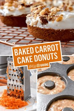 Moist and chewy baked carrot cake donuts are perfectly spiced and topped with plenty of tangy cream cheese icing - and they'll be ready in less than 30 Cake Donut Recipe Baked, Baked Doughnut Recipes, Easy Donut Recipe, Baked Doughnuts, Doughnut Cake, Donuts Donuts, Delicious Donuts, Delicious Desserts, Healthy Donuts