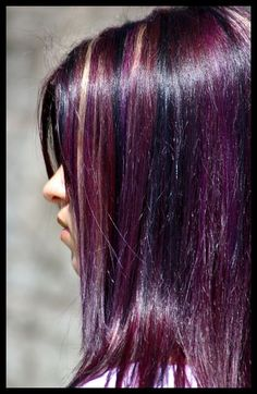 violet hair-only a few could pull this off-it is pretty long with the blond high lights