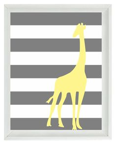 Giraffe Yellow Gray Nursery Wall Art Print  - Children Kid Baby - Stripes Wall Art Home Decor 16x20 Print. $40.00, via Etsy.