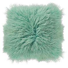 Holly's House - Mint Mongolian Lambs Fur Cushion