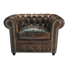 VINTAGE Chesterfield leather button armchair in brown x Distressed leather, button-backed armchair. Very stylish and perfect for a range of interior styles including vintage and industrial. Brown Leather Armchair, Brown Armchair, Leather Sofa, Leather Lounge, Leather Chairs, Affordable Furniture, Unique Furniture, Home Decor Furniture, Man Cave Furniture