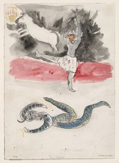Marc Chagall. A Snake and a Cow, costume design for Aleko (Scene IV). (1942)
