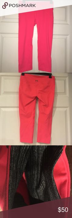 Under Armour Studio Line Capri Excellent Condition Under Armour Studio Line Capri leggings! Great for yoga or CrossFit!! Beautiful bright pink in color and front key pocket! Under Armour Pants Leggings