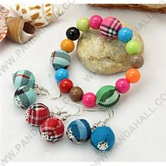 Kinder Schmuck-Sets, Ohrringe und Armbänder, mit runden Perlen Handarbeit gewebt