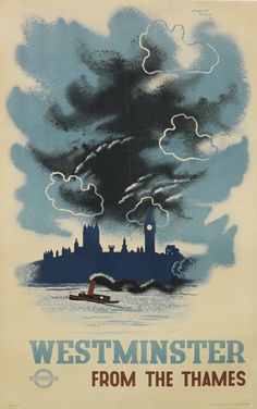 Westminster from the Thames - 1934 - (Edward McKnight Kauffer) -