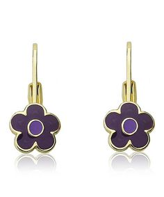This Purple Gold Flower Earrings is perfect! #zulilyfinds
