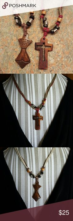 """NEW!  Set/2 Wooden Beaded Necklaces Curved cross and tribal figure pendants on knotted and beaded hemp necklaces.  Hand crafted by a sweet Native American woman I met at a local wolf sanctuary event.  Both necklaces are approx 18"""" long, not including the 1 3/4"""" wooden pendants.  NWOT.   BUNDLE FOR THE BEST DISCOUNT!  No Trades, no PP, no off-site sales.  Please consider Poshmark's fee when making offers. Thanks. Jewelry Necklaces"""