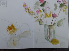 Flowers with light switch, by Lesley Birch in her sketchbook whilst on course with Charles Reid, May 2013 at Stow -- not my usual subject but enjoyed exploring ... watercolour, rotring pen with sepia ink and pencil