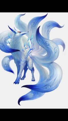 white nine tailed fox Dark Fantasy Art, Fox Fantasy, Fantasy Beasts, Fantasy Kunst, Anime Wolf, Pet Anime, Anime Animals, Anime Art, Cute Fantasy Creatures