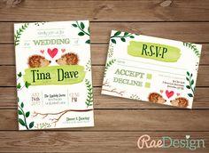Printable Rustic Hedgehog Wedding by RaeDesignStationery on Etsy