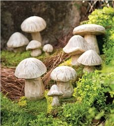 Resin Mushroom Garden Sculptures, Set of 10