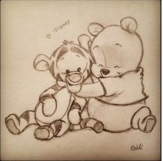 Cute Winnie the Pooh Tiger Friendship hug Disney adorable