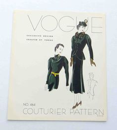 """1930s Vogue Couturier Dress Pattern Style # 464  Display """"Page""""  Dress"""