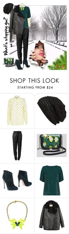 """Black & green"" by steka ❤ liked on Polyvore featuring River Island, King & Fifth Supply Co., Alexander Wang, Foley + Corinna, Gianvito Rossi, Warehouse, Matthew Williamson and Burberry"