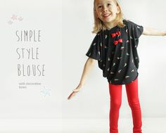Simple toddler BLOUSE pattern - Easy sleeve top PDF tutorial for girls