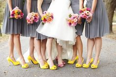 Savannah Wedding with Grey Bridesmaid Dresses and Yellow Shoes - love how the bouquets pop against the grey! What a classy look!