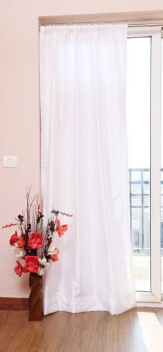 White Faux Silk Curtains, 45  (115cm) Wide, Choice of PlainTop, Length & Lining