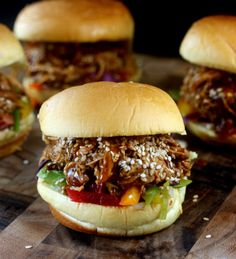Crockpot Pulled Honey Sesame Chicken Sliders with Rainbow Slaw