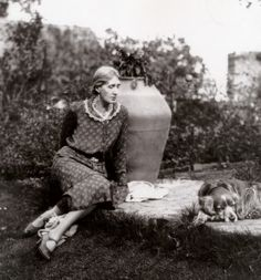 Virginia in a rare posed photograph, possibly taken to celebrate the finishing of the Millstone Terrace. A comfortable place to sit, the ter...