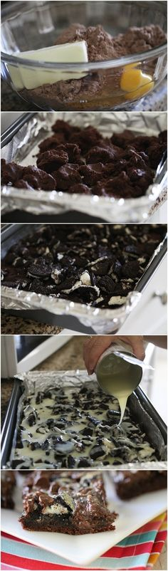 Gooey Cookies and Cream Chocolate Cake Bars